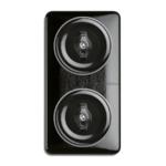 Bakeliet montageplaat zwart 2-voudig vierkant