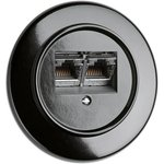 Bakeliet utp wandcontactdoos netwerkaansluiting zwart inbouw