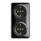 Bakeliet montageplaat 2-voudig voor dubbele stopcontacten opbouw