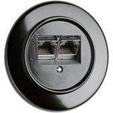 Bakeliet UTP internetaansluiting zwart rond CAT6a THPG 100722