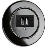 Bakeliet USB aansluiting stopcontact wandcontactdoos zwart rond