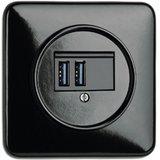 USB aansluiting inbouw bakeliet zwart vierkant