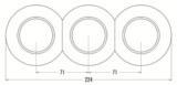 Porselein drie delen naast elkaar monteren afmetingen