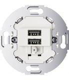 Wit bakeliet USB stopcontact inbouw - Duroplast