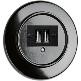 Bakeliet USB lader wandcontactdoos - zwart - inbouw
