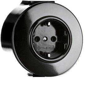 Bakeliet opbouw stopcontact zwart