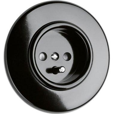 Bakeliet stopcontact penaarde België zwart inbouw