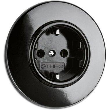 Bakeliet stopcontact zwart inbouw