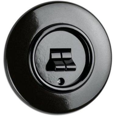 Bakeliet dubbele kiepschakelaar zwart inbouw