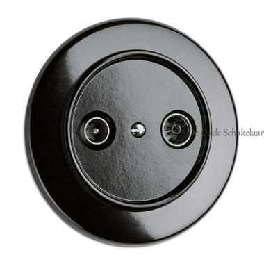 Bakeliet CAI aansluiting wandcontactdoos zwart inbouw