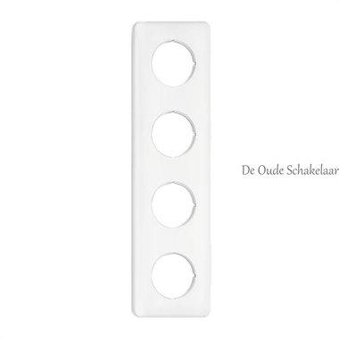 Wit bakeliet afdekraam 4-voudig vierkant inbouw