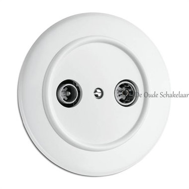 Wit bakeliet CAI aansluiting wandcontactdoos inbouw