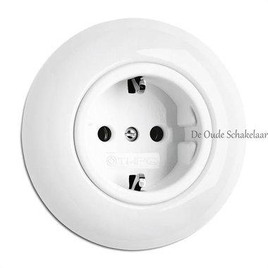 Porselein wit stopcontact wandcontactdoos inbouw