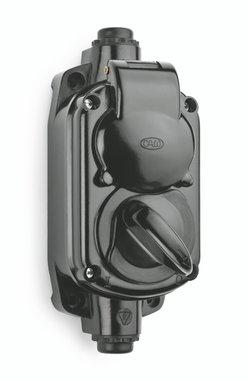 Bakeliet opbouw garage stopcontact zwart IP20