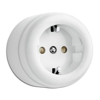Wit bakeliet opbouw stopcontact