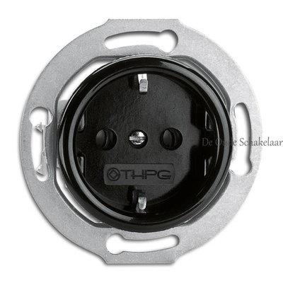 Bakeliet zwart stopcontact wandcontactdoos inbouw binnenwerk