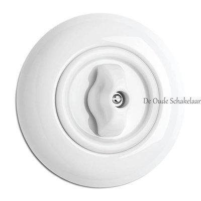 Porselein draaischakelaar wit inbouw