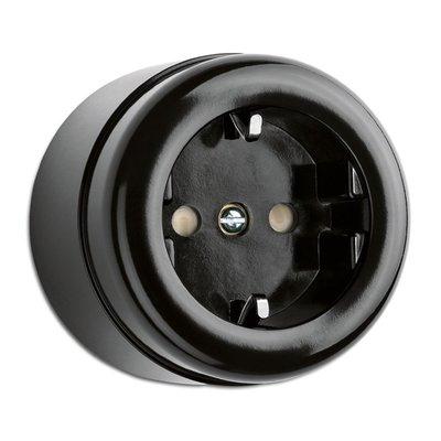 Bakeliet opbouw stopcontact zwart wandcontactdoos