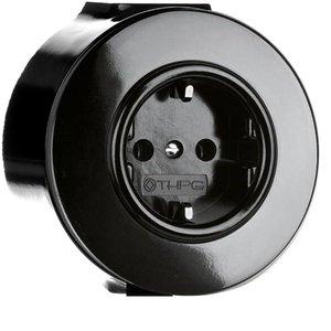 Bakeliet opbouw stopcontact zwart Nederland randaarding