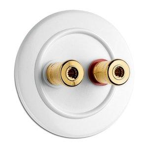 Luidspreker aansluiting wit bakeliet duroplast WBT 100739 100740 THPG rond