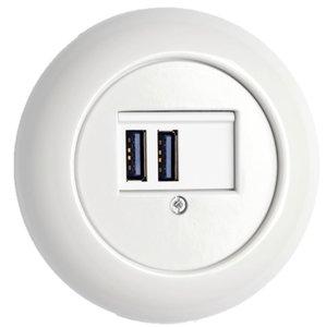 Porselein USB aansluiting wit rond THPG 181979