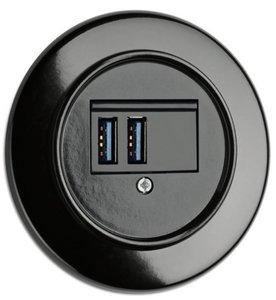USB aansluiting inbouw bakeliet zwart rond