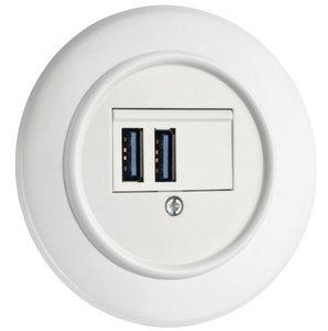 Wit bakeliet USB aansluiting rond