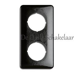 Bakeliet zwart afdekraam dubbel vierkant inbouw