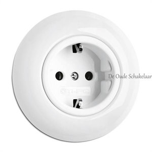 Porselein wit stopcontact wandcontactdoos inbouw THPG
